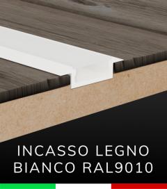 """Profilo in Alluminio Piatto da Incasso 03 """"Slim"""" per Strisce LED - Verniciato BIANCO RAL9010"""