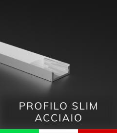 Profilo Piatto in Alluminio SLIM per Strisce LED - ACCIAIO Lucido