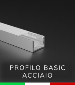 """Profilo in Alluminio """"Basic"""" Lineare per Strisce LED - ACCIAIO Lucido"""