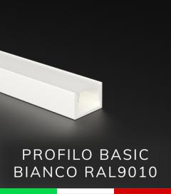 """Profilo in Alluminio """"Basic"""" Lineare per Strisce LED - Verniciato BIANCO RAL9010"""