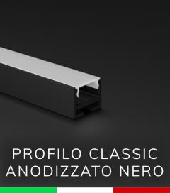Profilo in Alluminio Piatto Design Classic per Strisce LED - Anodizzato NERO