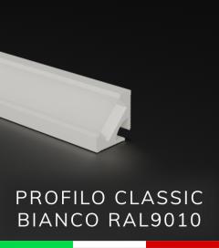 Profilo in Alluminio angolare a 45° Design Classic per Strisce LED - per velette in cartongesso - Bianco RAL9010