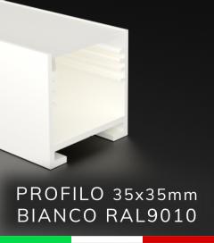 SUPER OFFERTA FINE SCORTE: Profilo Lineare in Alluminio 35x35mm per Strisce LED - Verniciato BIANCO RAL9010