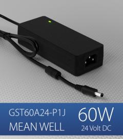 Alimentatore switching da tavolo a uscita singola 60W Meanwell - GST60A-24-P1J - 24V