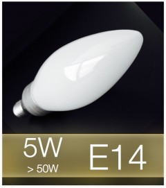 Lampadina LED E14 4W(50W) Vetro MILK - Bianco CALDO