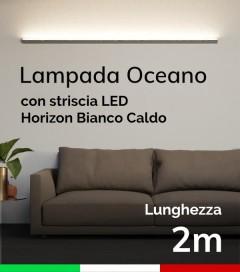 SUPER OFFERTA: Lampada LED da Parete Oceano - Anodizzato Argento - 200cm - Striscia LED HORIZON 3000K