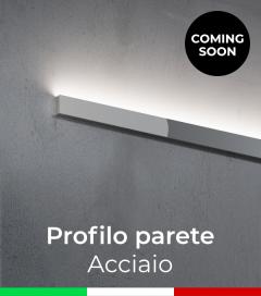 """Profilo in Alluminio """"Parete"""" per Strisce LED - Acciaio Lucido"""