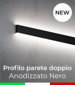 """Profilo in Alluminio """"Parete Doppio"""" per Strisce LED - Anodizzato Nero"""