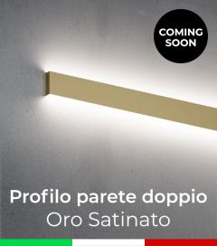 """Profilo in Alluminio """"Parete Doppio"""" per Strisce LED - Oro Satinato"""