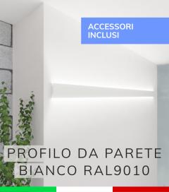 """Profilo in Alluminio Da Parete """"Flat"""" per Strisce LED - Verniciato BIANCO RAL9010 - KIT DI MONTAGGIO E TAPPI COMPRESI!"""