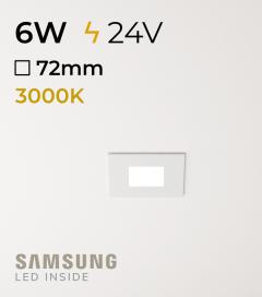 Faretto da Incasso Quadrato Slim 6W BIANCO CALDO - Downlight - LED Samsung