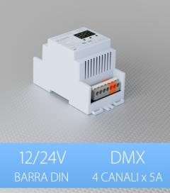 Centralina DMX 4 CANALI x 5A - Per Barra DIN