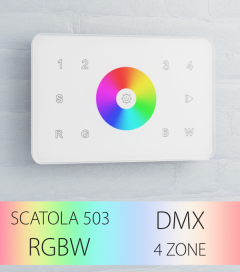 Controller RGBW Touch da Parete a 4 Zone DMX - per strisce LED - Bianco o Nero