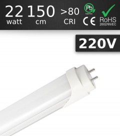 Tubo LED T8 1500mm 22W Chip SMD2835 - Bianco NATURALE