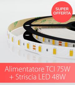 "SUPER OFFERTA TCI - Alimentatore TCI 75W Made in Italy + Striscia LED 5630 Samsung ""PRO"" 60LED/m - 2.5 Metri - 48W - 2700K / BIANCO CALDO / NATURALE / FREDDO"