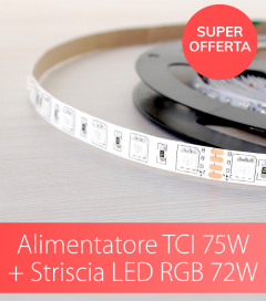 "SUPER OFFERTA TCI - Alimentatore TCI 75W Made in Italy + Striscia LED RGB 5050 RGB ""ECO"" 60LED/m - 5 Metri - 72W"