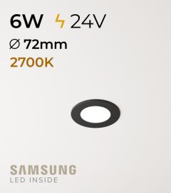 Faretto da Incasso Rotondo Slim Nero 6W LUCE CALDA - Downlight - LED Samsung