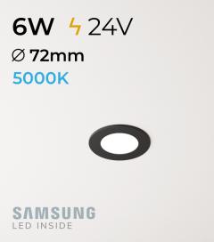 Faretto da Incasso Rotondo Slim Nero 6W BIANCO FREDDO - Downlight - LED Samsung
