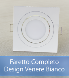 Faretto completo Bianco con PCB SAMSUNG 9W - Design VENERE - Dimmerabile - Made In Italy