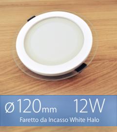 """FINE SCORTE - Faretto da Incasso Tondo """"White Halo"""" 12W BIANCO FREDDO (Lampada Downlight)"""
