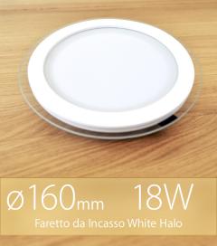 """Faretto da Incasso Tondo """"White Halo"""" 18W BIANCO CALDO (Lampada Downlight)"""
