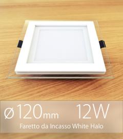 """Faretto da Incasso Quadrato """"White Halo"""" 12W BIANCO NATURALE (Lampada Downlight)"""