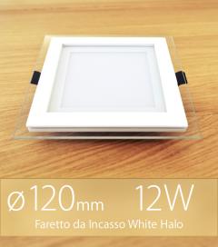 """Faretto da Incasso Quadrato """"White Halo"""" 12W BIANCO CALDO (Lampada Downlight)"""
