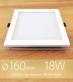 """Faretto da Incasso Quadrato """"White Halo"""" 18W BIANCO CALDO (Lampada Downlight)"""