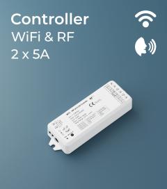 Centralina Ricevente 2 canali x 5A - Funzione Dimmer e Bianco Dinamico - RF, Wi-Fi e Comandi Vocali