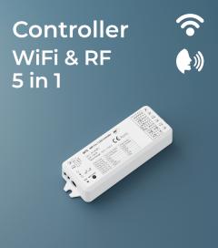 Centralina Ricevente 5 canali x 3A - Funzione Dimmer, RGB, RGBW e Bianco Dinamico - RF, Wi-Fi e Comando Vocale