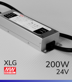 Alimentatore MeanWell XLG-200-24 24V 200W Resistente All'acqua - Tensione Regolabile
