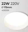 Faretto LED da Incasso recesso Bianco - 22W - Bianco Naturale 4000K