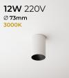Faretto LED Tondo a soffitto - Bianco - 12W - Bianco Caldo 3000K