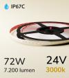"Striscia LED 2835 ""ECO"" - 5 Metri - 72W - SMD2835 - 120 LED/m - Bianco CALDO - 3000K - IP67C"