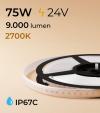 """Striscia LED 2835 """"PRO"""" - 5 Metri - 75W - SMD2835 128 LED/m - LUCE CALDA - 2700K - IP67C"""