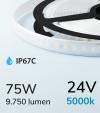 "Striscia LED 2835 ""PRO"" - 5 Metri - 75W - SMD2835 128 LED/m - Bianco FREDDO - 5000K - IP67C"