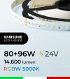 "Striscia LED RGBW  ""DYNAMIC RGBW"" - 5 Metri - 176W - 140 LED/m - SMD3535 Broadcom e SMD2835 Samsung CRI90 - RGB + Bianco Freddo 5000K"