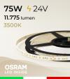 "Striscia LED 2835 ""PRO"" - 24V - 5 Metri - 75W - SMD2835 Osram - 144 LED/m - Bianco CALDO - 3500K"