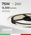"Striscia LED 2835 ""PRO"" - 24V - 5 Metri - 75W - SMD2835 Osram - 144 LED/m - Bianco NATURALE - 4000K"