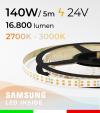 Striscia LED Elite Bianco Dinamico - 28W/m+28Wm - 256LED/m SMD2835 Samsung - da 2700K a 3000K