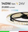 Striscia LED Elite Bianco Dinamico - 28W/m+28Wm - 256LED/m SMD2835 Samsung - da 2700K a 5000K