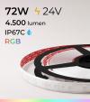 """Striscia LED RGB Impermeabile IP67C  """"ECO"""" - 72W - 300 LED SMD5050 CAMBIACOLORE"""