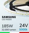 "Striscia LED 5630  ""H-POWER"" - 5 Metri - 185W -  140 LED/m SMD5630 Samsung - CRI90 - Bianco FREDDO 5000K"