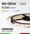 "Striscia LED Bianco Dinamico ""DYNAMIC WHITE"" - 5 Metri - 96W+96W - 120 LED/m SMD5630 Samsung - da 2700K a 4000K"