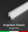 Profilo in Alluminio angolare a 45° Design Classic per Strisce LED - per velette in cartongesso - Anodizzato ARGENTO