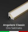 Profilo Angolare in Alluminio 45° Design Classic per Strisce LED -  Oro Satinato