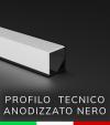 Profilo in alluminio angolare 45° Design Tecnico per Strisce LED - Anodizzato Nero