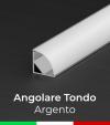 Profilo in alluminio angolare 45° Design Tondo per Strisce LED - ANODIZZATO ARGENTO