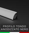 Profilo in alluminio angolare 45° Design Tondo per Strisce LED - Anodizzato Nero