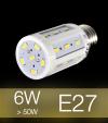 Lampadina LED CORN 6W E27 (60W) -  Bianco Caldo